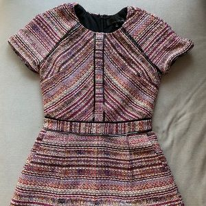 Colorful tweed and faux leather trim romper